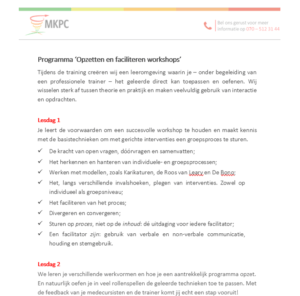Programma opzetten en Faciliteren Workshops